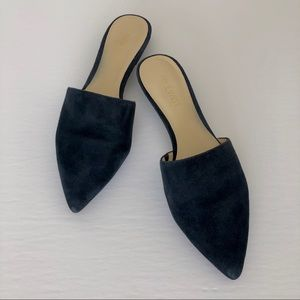 Pointed Toe Slides In Navy Suede